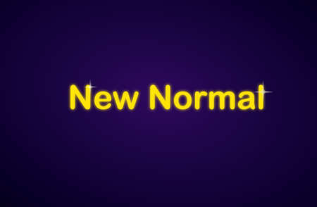 Neon new normal text on dark background, vector illustration