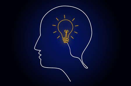 Neon light head idea with light bulb inside human head, creating new idea concept, vector illustration Stock Illustratie