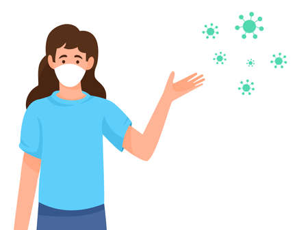Women wearing medical presents Covid-19 or coronavirus isolate on white background, social distancing concept, new normal, vector illustration