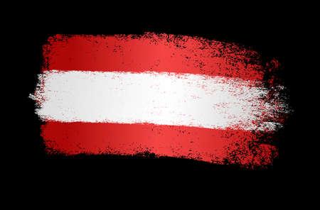 Austria flag with brush paint textured, background, Symbols of Austria, graphic designer element - Vector - illustration