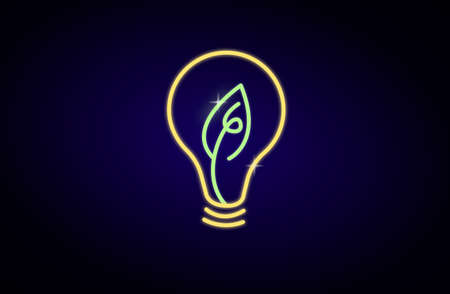 Neon light with light bulb shape with  leave inside on blue dark background, renewable energy  concept,vector illustration