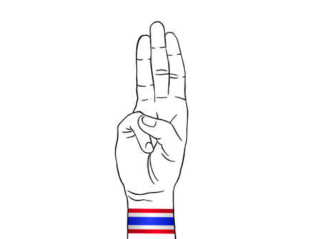 Protester show three fingers salute wearing Thailand flag wristband on white backgeound , graphic designer element - Vector - illustration Stock Illustratie