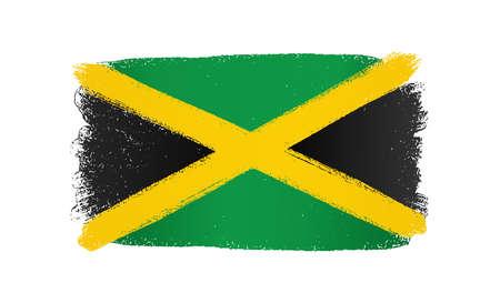 Jamaica flag with brush paint textured, background, Symbols of Jamaica, graphic designer element - Vector - illustration Stock Illustratie
