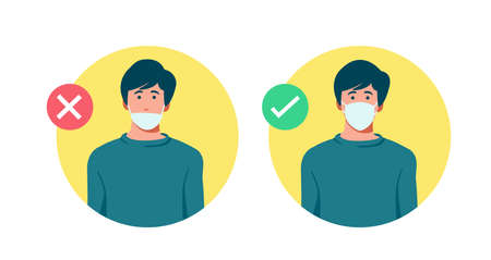 Set of men wearing medical mask in the wrong way with red cross symbol, one men wearing medical mask properly with   green check mark, protection concept, prevent virus, vector illustration