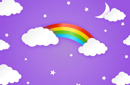 Colorful rainbow with clouds, stars, moon, on night background, kid patterns, vector illustration Stock Illustratie
