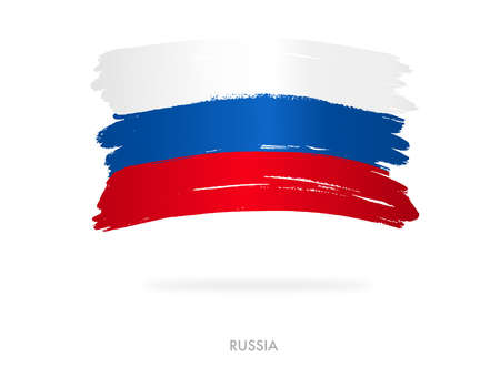 Russia flag with brush paint textured, background, Symbols of Russia , graphic designer element - Vector - illustration