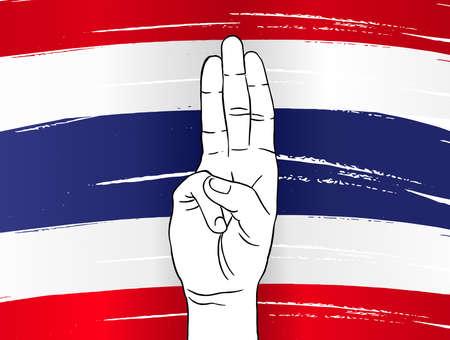 Protester show three fingers salute on  Thailand flag background , graphic designer element - Vector - illustration Stock Illustratie