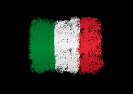 Italy flag with brush paint textured, background, Symbols of Italy, graphic designer element - Vector - illustration