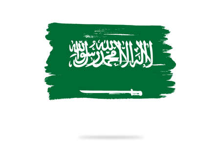 Saudi Arabia flag with brush paint textured, background, Symbols of Saudi Arabia , graphic designer element - Vector - illustration