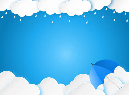 Cloud rain with umbrella on blue background, clear sky with cloud, rain season, cloudy day,weather forecast concept, rain promotion for advertising, vector illustration