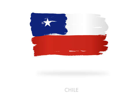 Chile flag with brush paint textured, background, Symbols of Chile , graphic designer element - Vector - illustration