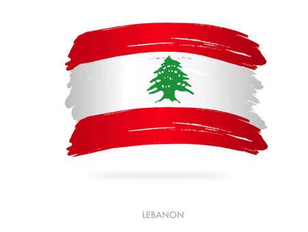 Lebanon flag with brush paint textured, background, Symbols of Lebanon, graphic designer element - Vector - illustration Stock Illustratie