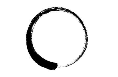 Zen circle symbols with brush paint textured on white background, graphic designer element - Vector - illustration