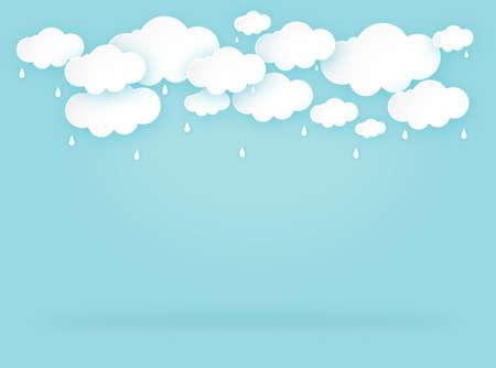 Cloud rain on blue background, clear sky with cloud, rain season, cloudy day,weather forecast concept, vector illustration