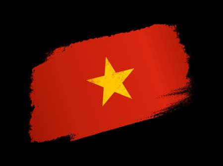 Vietnam flag with brush paint textured, background, Symbols of Vietnam, graphic designer element - Vector - illustration