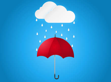 Cloud rain drop on red umbrella on blue background, rain season, cloudy day,weather forecast concept, vector illustration
