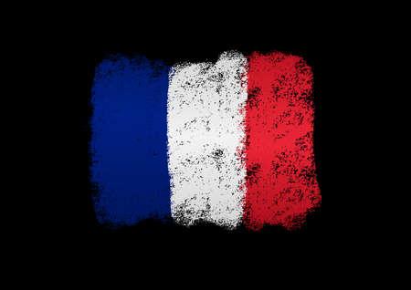 France flag with brush paint textured, background, Symbols of France, graphic designer element - Vector - illustration