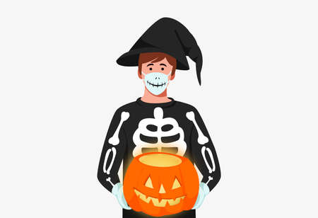 Men wearing medical mask , halloween costume , holding pumpkins on white background, halloween party during COVID-19 pandemic  vector illustration