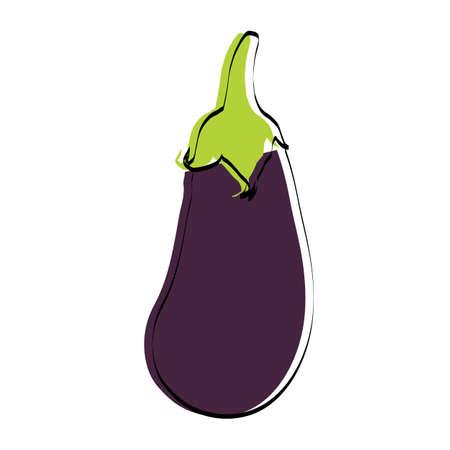 Silhouette of a vegetable. Eggplant. Vector illustration. Ilustração