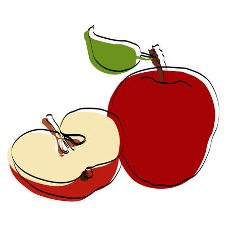 Silhouette of fruit Red apple. Vector illustration.