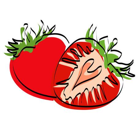 Silhouette of berries. Strawberry. Vector illustration. Colored berry. Ilustração