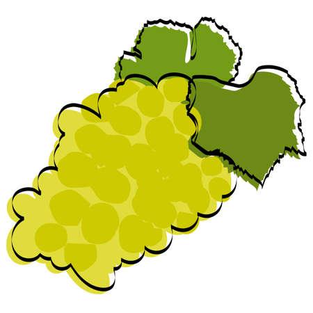 Silhouette of berries. Green grapes. Vector illustration. Ilustração