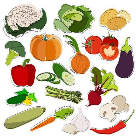 Set of vegetables. Silhouettes. Flat vector illustration.