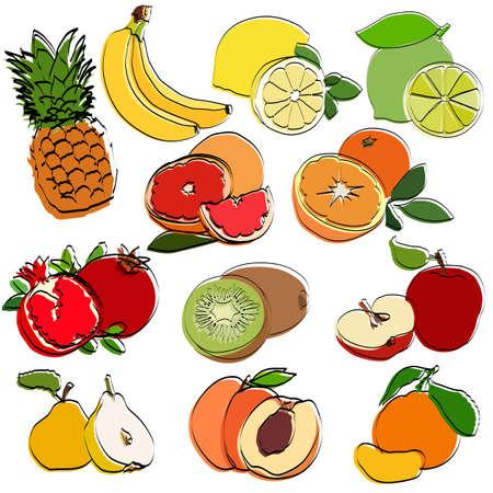 Fruit set. Silhouettes. Flat vector illustration.