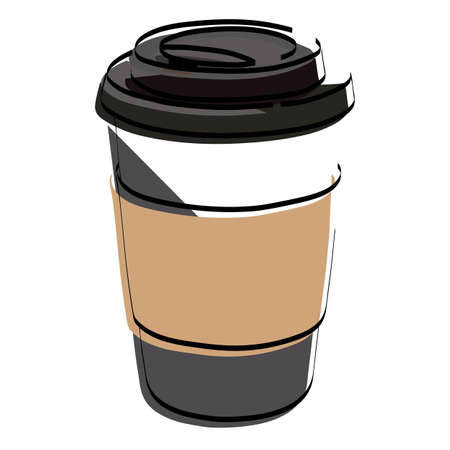 Silhouette glass with coffee. Latte. Cappuccino. Vector illustration. Ilustração