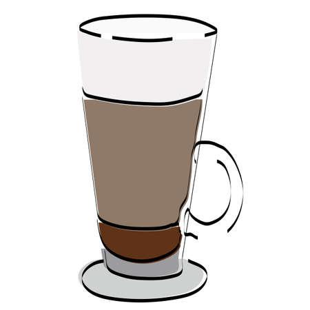 Silhouette glass with coffee. Latte. Vector illustration. Ilustração