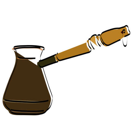 Silhouette of Cezve for coffee. Latte. Cappuccino. Vector illustration. Ilustração