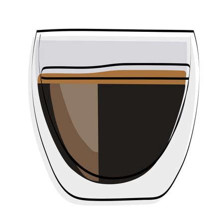 Espesso coffee. In a glass mug. Vector illustration.