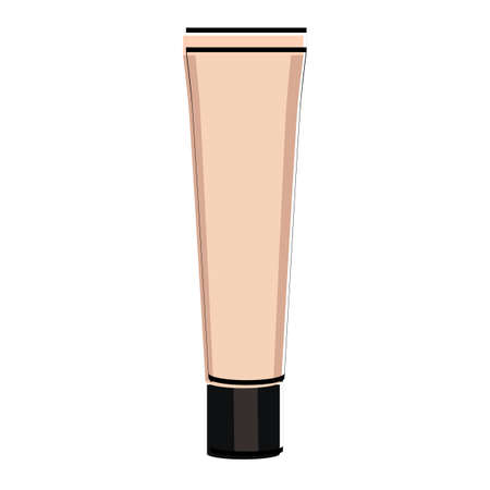 Silhouette of a bottle of foundation. Makeup accessory. Vector illustration.
