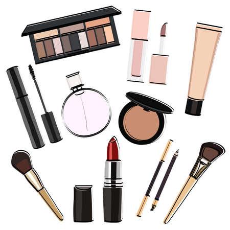 Makeup set silhouette. Face accessory. Cosmetics. Vector illustration. Ilustração