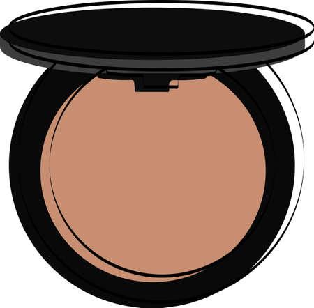 Silhouette of blush and powder. Makeup accessory. Vector illustration. Ilustração