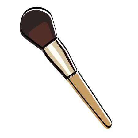 Blush brush silhouette. Makeup accessory. Vector illustration. Ilustração