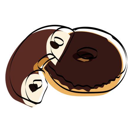 Donut silhouette. Fast food. Vector illustration. Ilustração