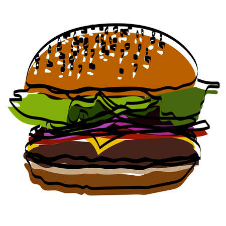 Silhouette of a burger. Fast food. Vector illustration.