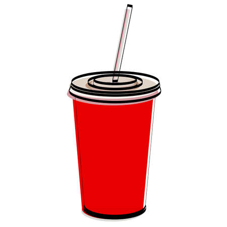 Silhouette of a glass with soda. Fast food. Vector illustration