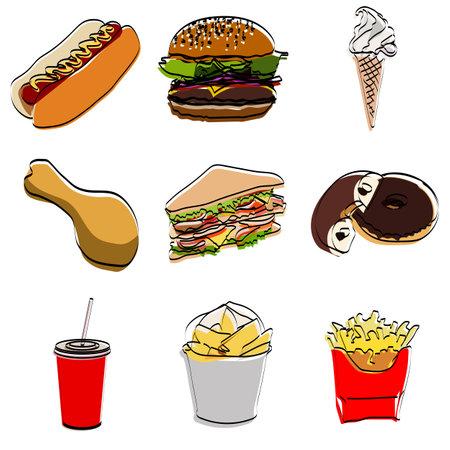 Set silhouette. Fast food. Vector illustration. Ilustração