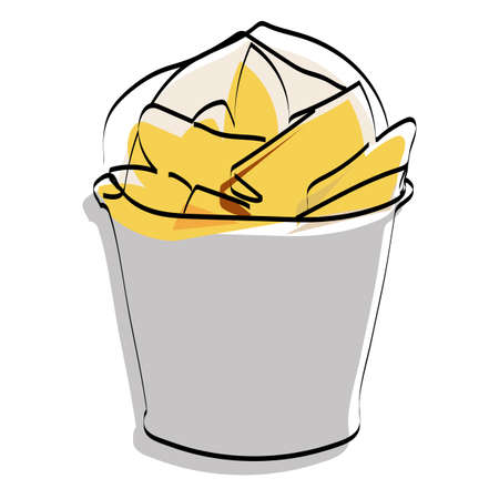Silhouette of rustic potatoes in a bucket. Fast food. Vector illustration.