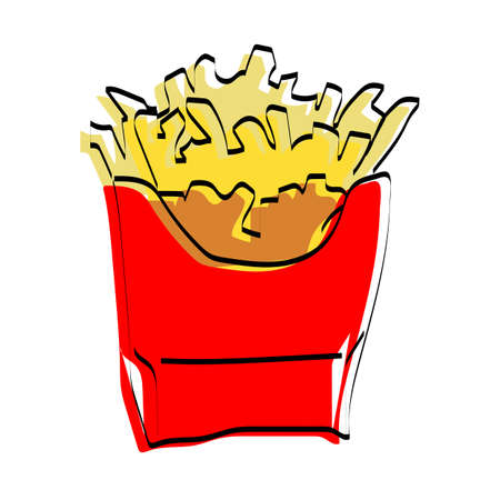 Silhouette of French fries. Fast food. Vector illustration.