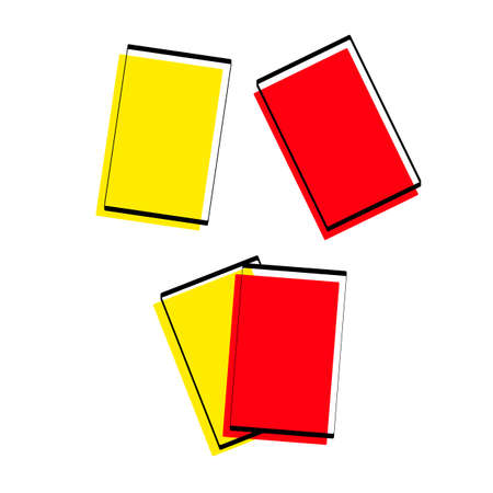 Silhouette of sports cards. Red and yellow card. Attributes for football. Vector illustration. Vetores