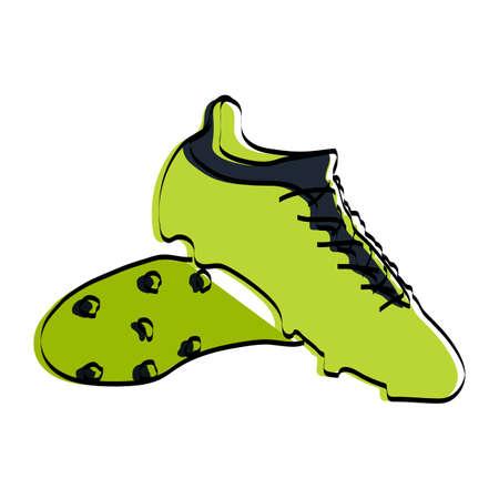 Silhouette of sports shoes. Football paraphernalia. Vector illustration.