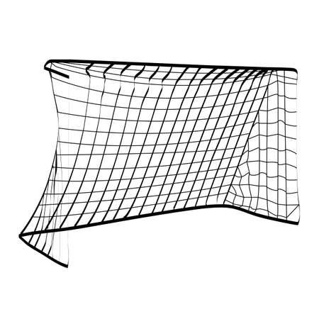 Silhouette of a football goal. Attributes for football. Vector illustration. Ilustração