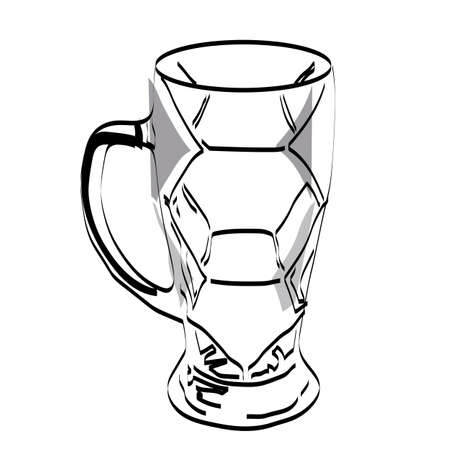 Silhouette of a football beer glass. Attributes for football. Vector illustration.