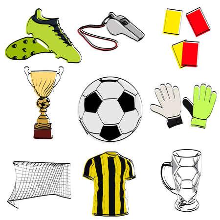 Football set. Attributes for sports. Vector illustration.