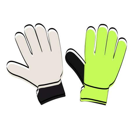Goalkeeper gloves silhouette. Attributes for football. Vector illustration. Ilustração
