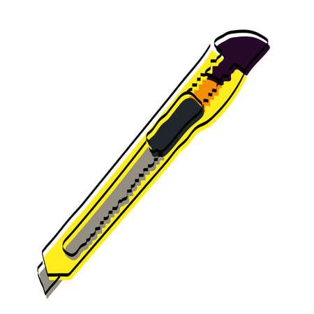Stationery. Drawn stationery knife. Vector illustration.