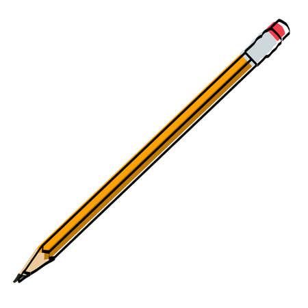 Stationery. Drawn pencil. Vector illustration.